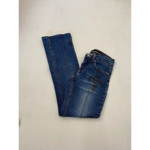 Jeans - Women's 1990's Studded Boot Cut Jeans Blue Sz One
